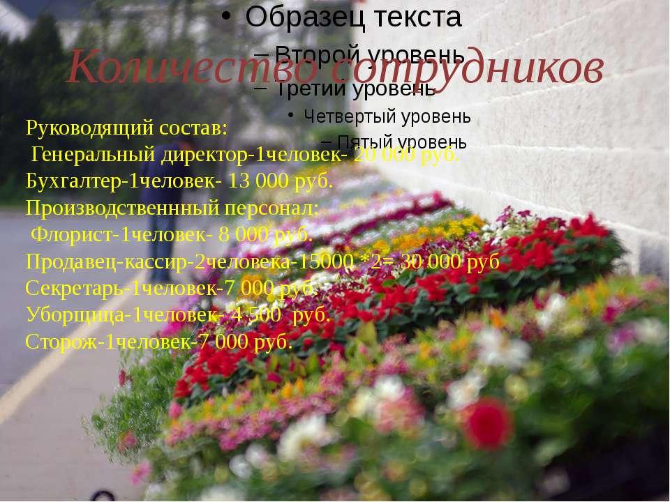 Количество сотрудников Руководящий состав: Генеральный директор-1человек- 20...