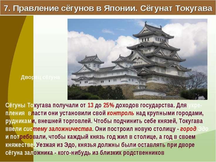 7. Правление сёгунов в Японии. Сёгунат Токугава Сёгуны Токугава получали от 1...