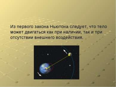 Из первого закона Ньютона следует, что тело может двигаться как при наличии, ...