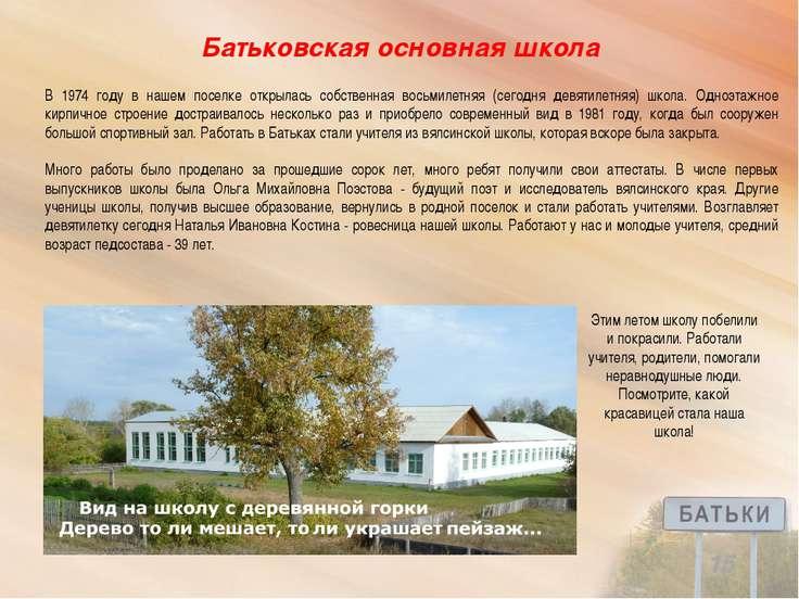 Батьковская основная школа 15 В 1974 году в нашем поселке открылась собственн...