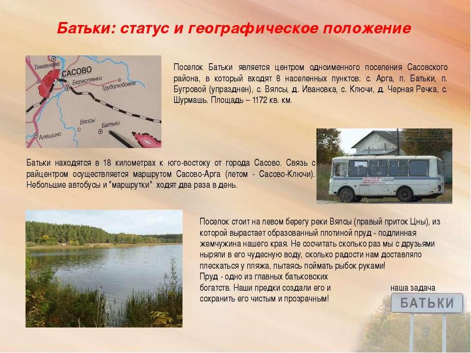 Батьки: статус и географическое положение Поселок стоит на левом берегу реки ...