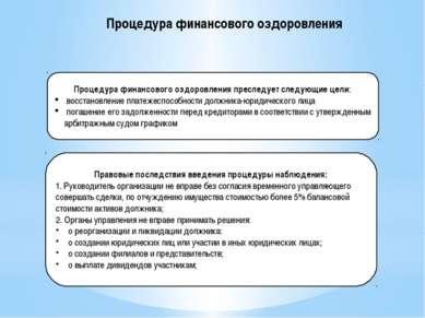 Процедура финансового оздоровления Процедура финансового оздоровления преслед...