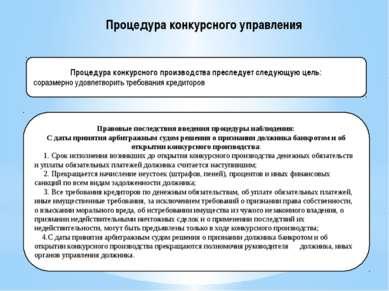 Процедура конкурсного производства преследует следующую цель: соразмерно удов...