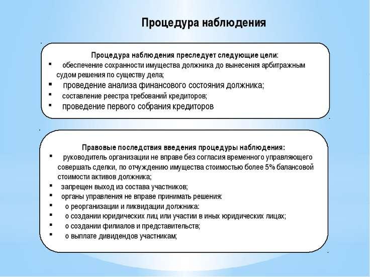 Процедура наблюдения Процедура наблюдения преследует следующие цели: обеспече...