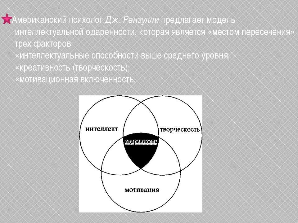 Американский психолог Дж. Рензулли предлагает модель интеллектуальной одаренн...