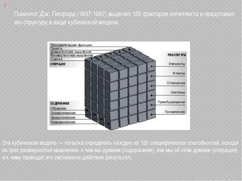 Психолог Дж. Гилфорд (1897-1987) выделил 120 факторов интеллекта и представил...
