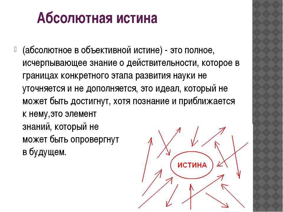 (абсолютное в объективной истине) - это полное, исчерпывающее знание о действ...