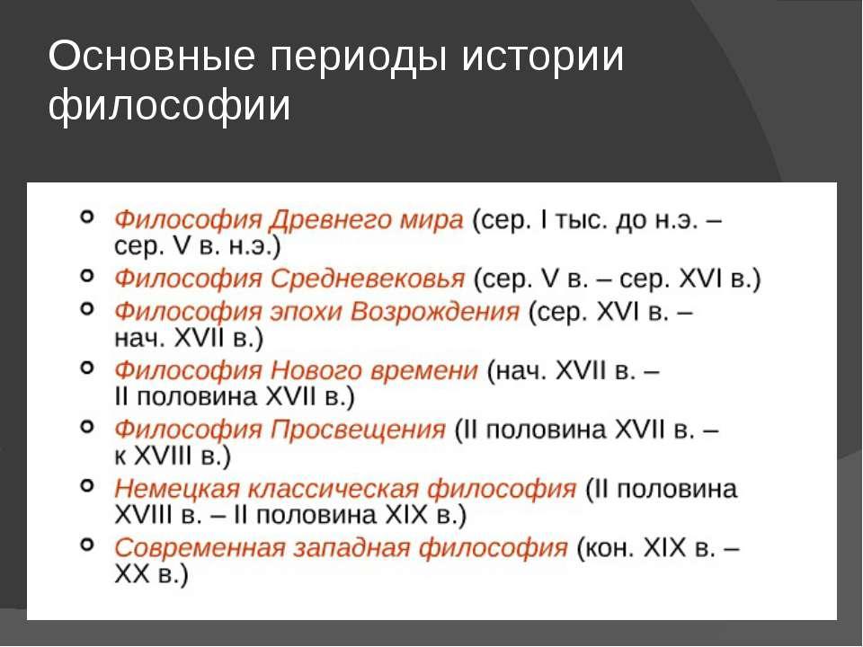 Основные периоды истории философии
