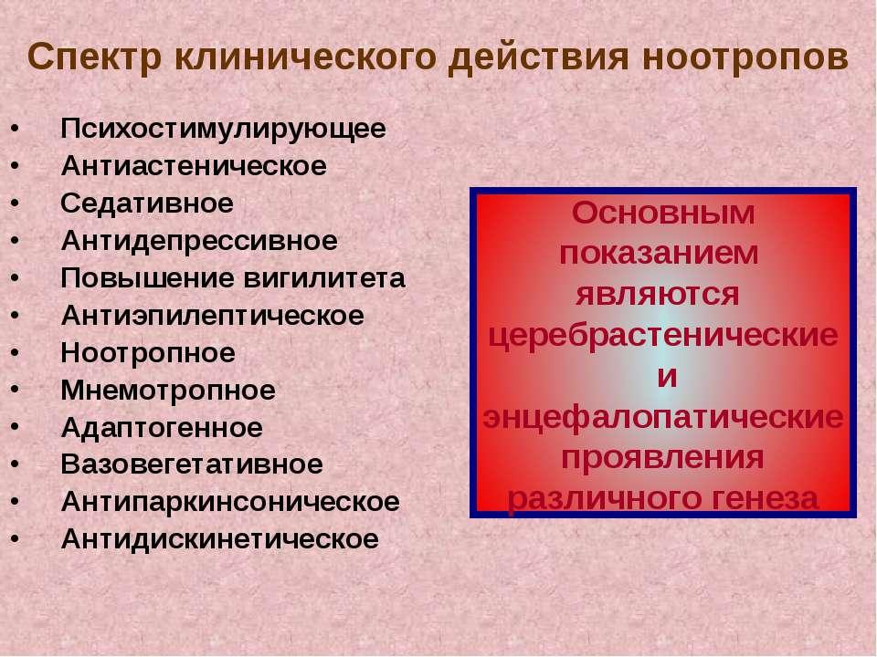 Спектр клинического действия ноотропов Психостимулирующее Антиастеническое Се...