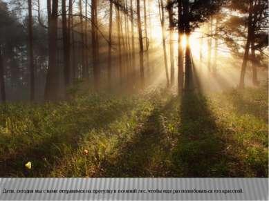 Дети, сегодня мы с вами отправимся на прогулку в осенний лес, чтобы еще раз п...