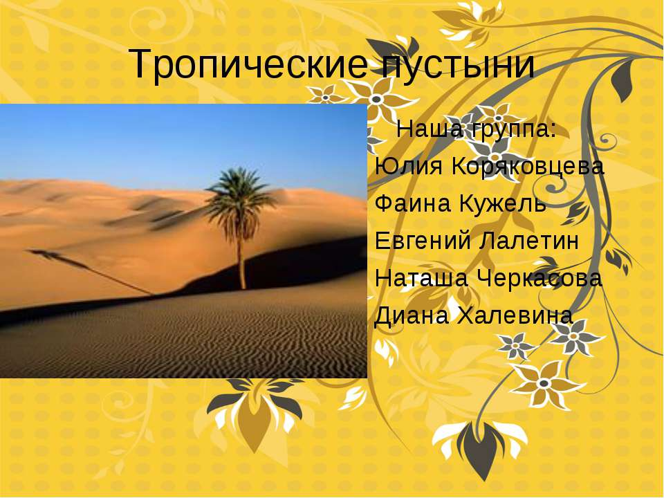 Тропические пустыни Диана Халевина