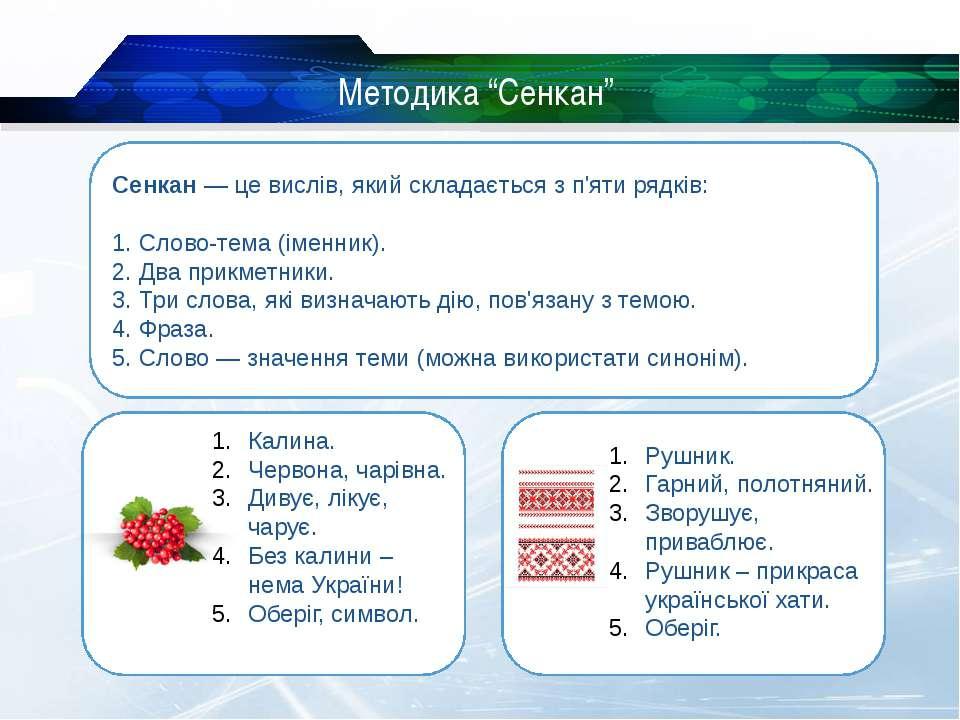 """Методика """"Сенкан"""" Сенкан — це вислів, який складається з п'яти рядків: 1. Сло..."""