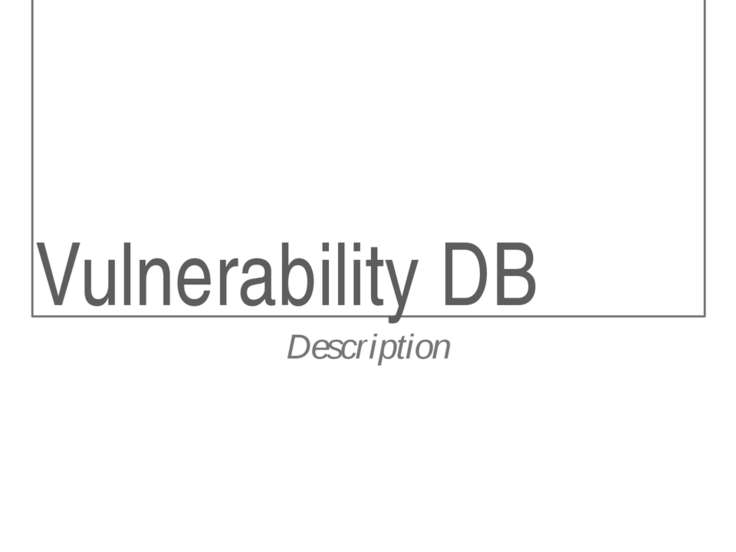 Vulnerability DB Description