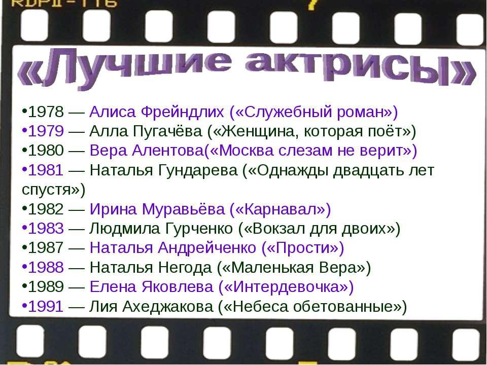 1978—Алиса Фрейндлих («Служебный роман») 1979—Алла Пугачёва(«Женщина, ко...