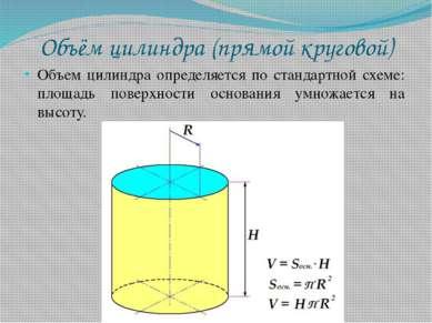Объём цилиндра (прямой круговой) Объем цилиндра определяется по стандартной с...