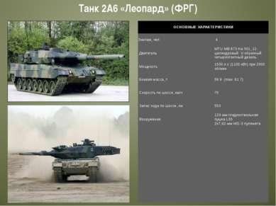 Танк 2А6 «Леопард» (ФРГ) ОСНОВНЫЕ ХАРАКТЕРИСТИКИ Экипаж, чел. 4 Двигатель M...