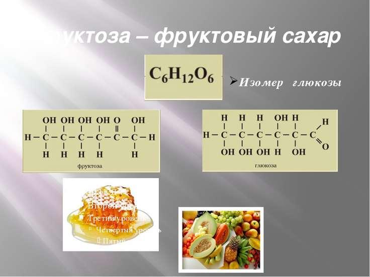 Фруктоза – фруктовый сахар Изомер глюкозы