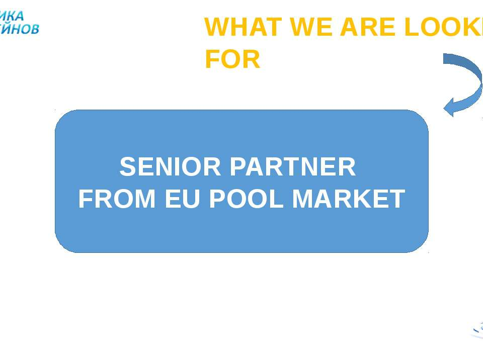 WHAT WE ARE LOOKING FOR SENIOR PARTNER FROM EU POOL MARKET
