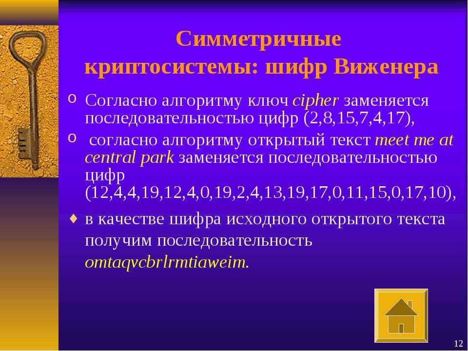 Симметричные криптосистемы: шифр Виженера Согласно алгоритму ключ cipher заме...