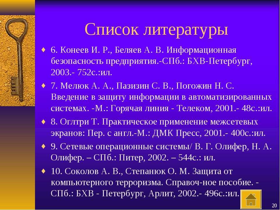 Список литературы 6. Конеев И. Р., Беляев А. В. Информационная безопасность п...