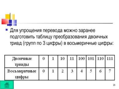 * Для упрощения перевода можно заранее подготовить таблицу преобразования дво...