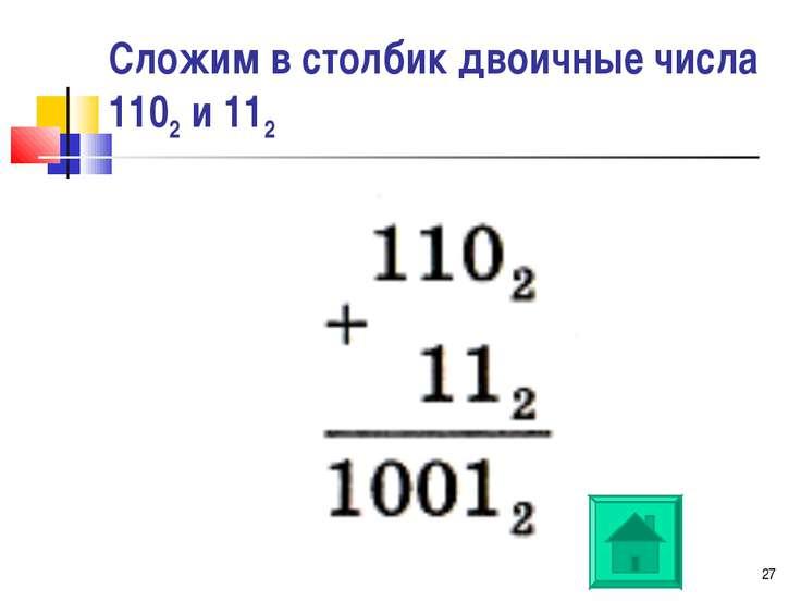 * Сложим в столбик двоичные числа 1102 и 112