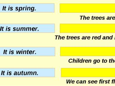 The trees are white. The trees are red and brown. Children go to the river. W...