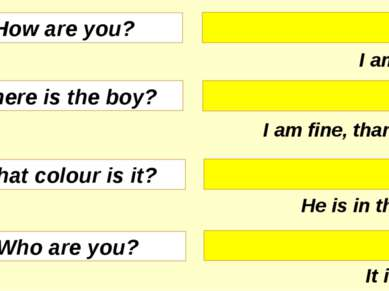 I am Tom. I am fine, thank you. He is in the bed. It is pink. How are you? Wh...