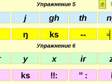 Упражнение 5 Упражнение 6 θ ks -- ŋ ʤ z ɜ: ɑ: ks i x gh th j ng ar x ir y z