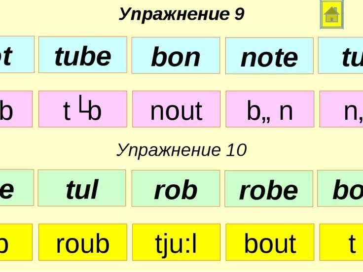tju:b tʌb nout bɒn nɒt Упражнение 9 Упражнение 10 rɒb roub tju:l bout tʌl not...