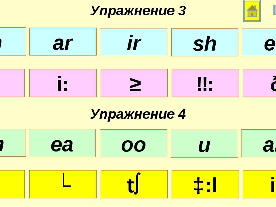 ɑ: i: ʃ ɜ: ð Упражнение 3 Упражнение 4 u: ʌ t ɔ:l i: th ar ir sh ee ch ea oo ...