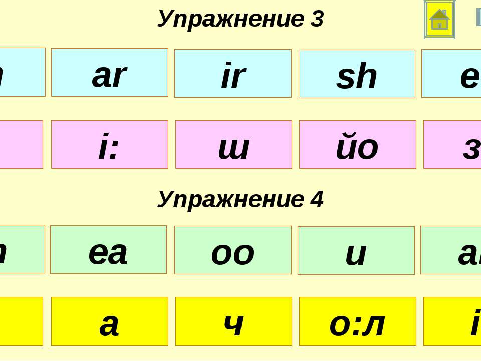 а: і: ш йо зз Упражнение 3 Упражнение 4 у а ч о:л і: th ar ir sh ee ch ea oo ...