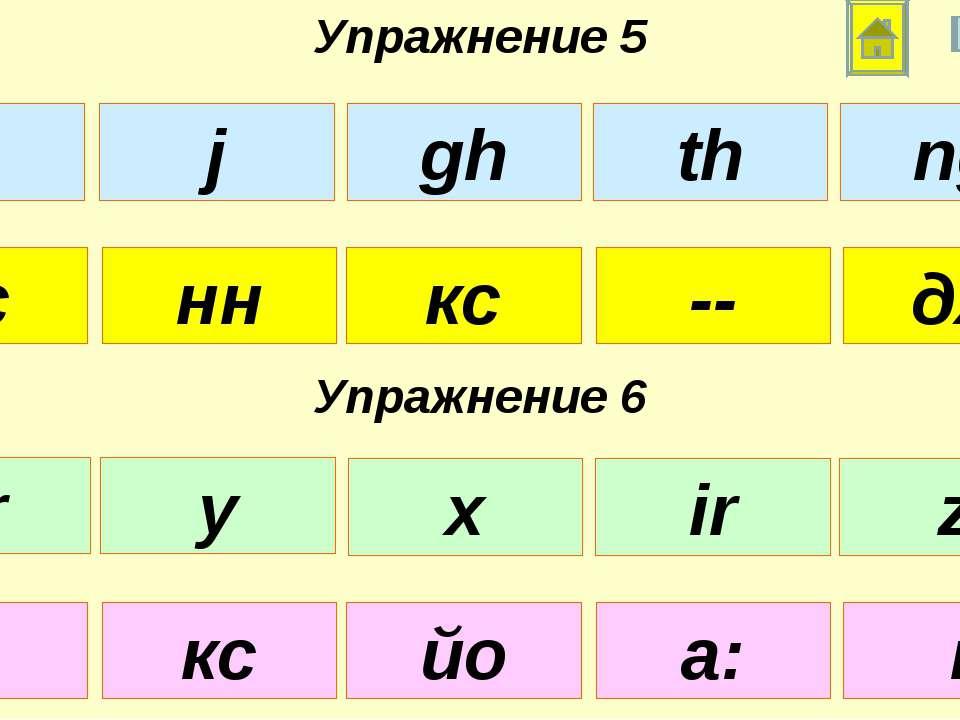 Упражнение 5 Упражнение 6 сс кс -- нн дж з йо а: кс і x gh th j ng ar x ir y z