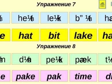 Упражнение 7 Упражнение 8 bite bit lake hat hate time pak time pake din bɪt l...