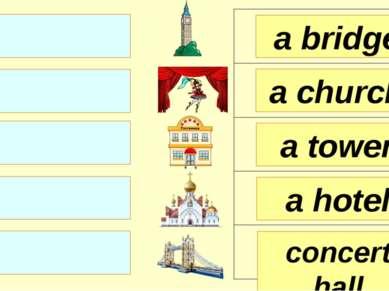 a bridge a church a tower concert hall a hotel