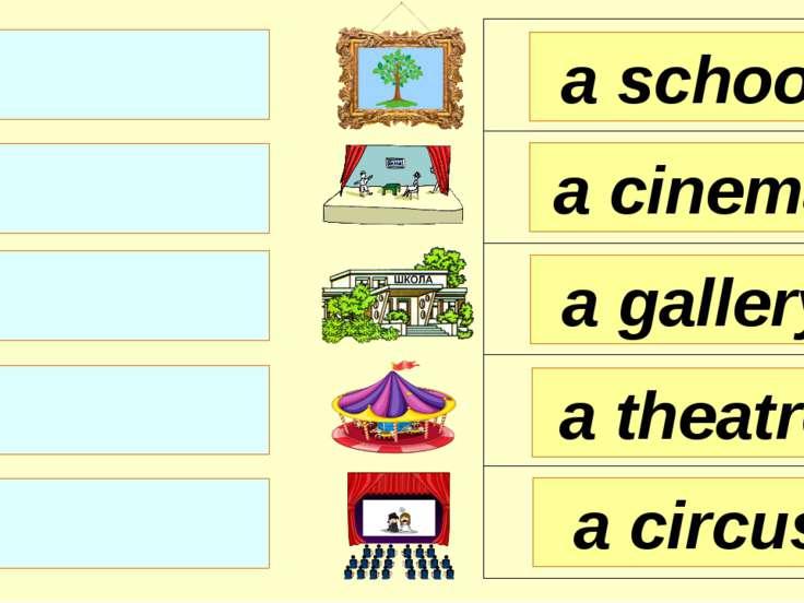 a school a cinema a gallery a circus a theatre