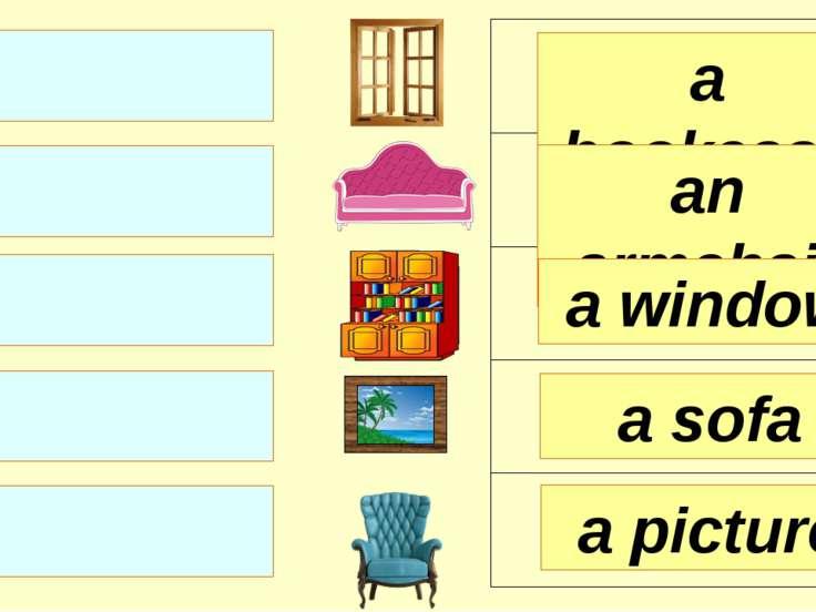 a bookcase an armchair a window a picture a sofa