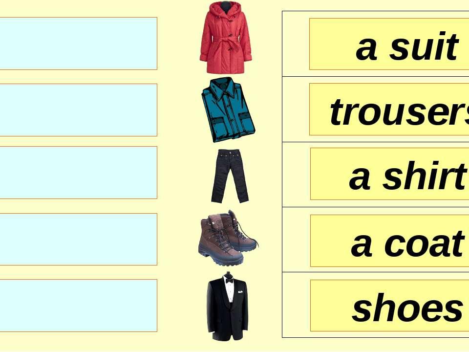 a suit trousers a shirt shoes a coat