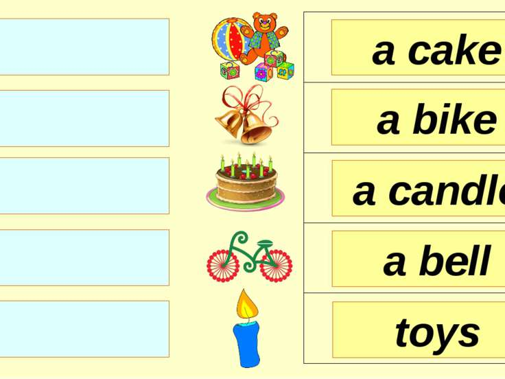 a cake a bike a candle toys a bell