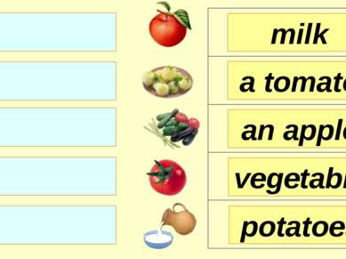milk a tomato an apple potatoes vegetable