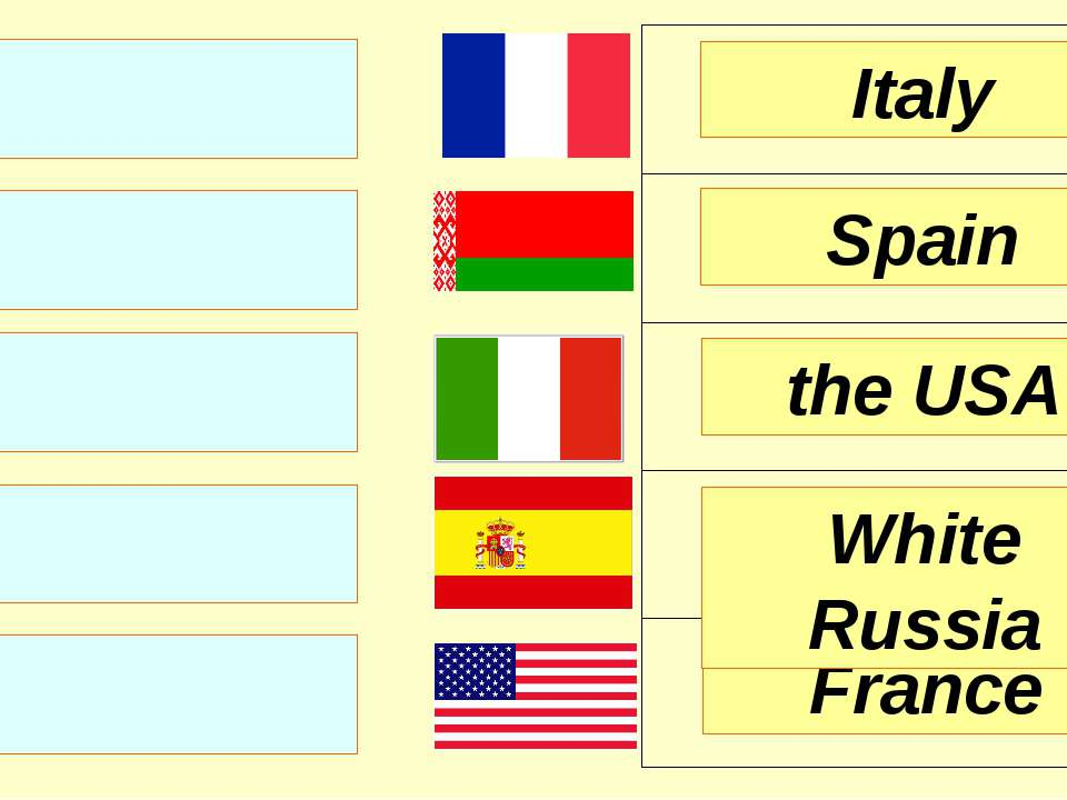 Italy Spain the USA France White Russia