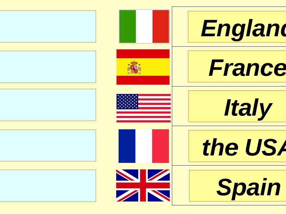 England France Italy Spain the USA