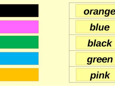 orange blue black pink green