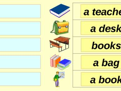 books a desk a teacher a bag a book