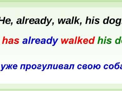 He, already, walk, his dog.