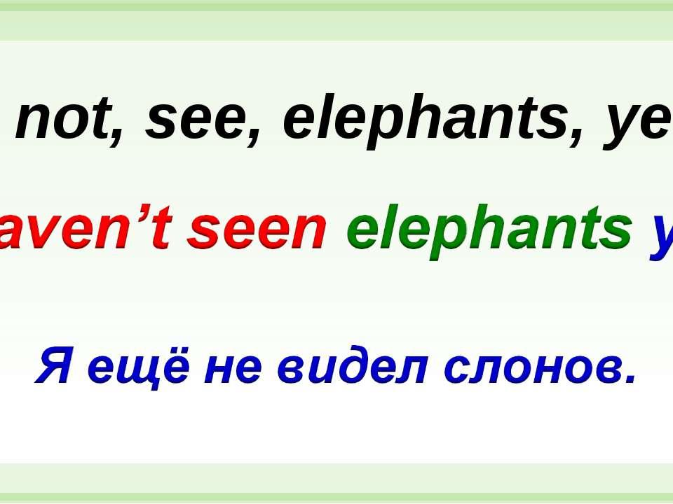 I, not, see, elephants, yet.