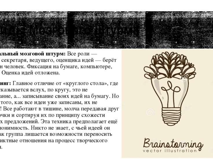 Виды Мозгового Штурма Индивидуальный мозговой штурм: Все роли — генератора, с...