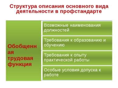 Структура описания основного вида деятельности в профстандарте
