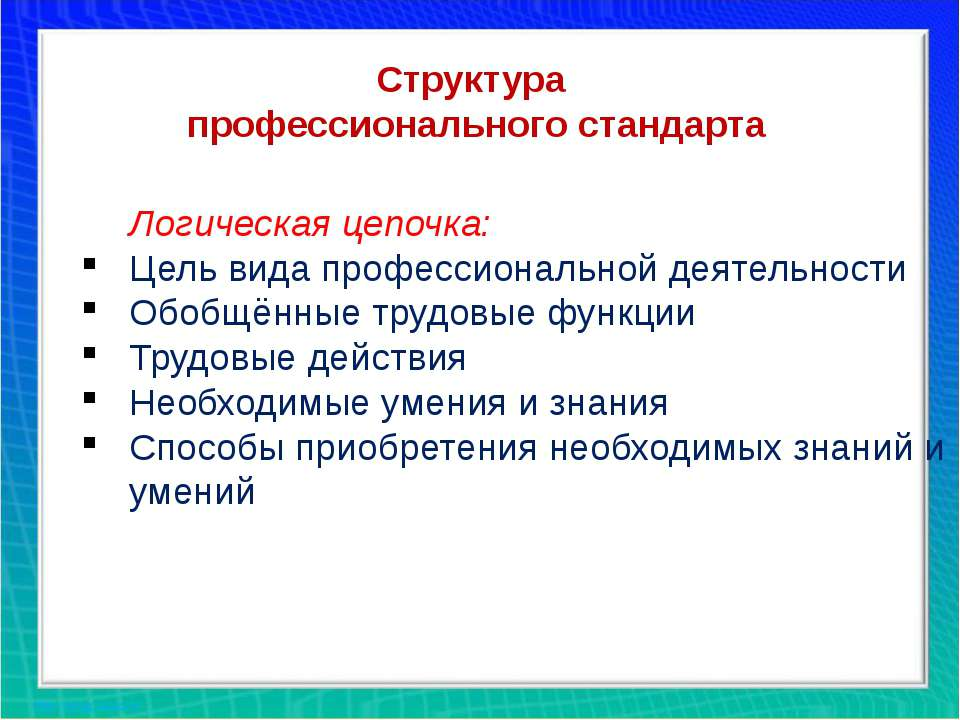 Структура профессионального стандарта Логическая цепочка: Цель вида профессио...