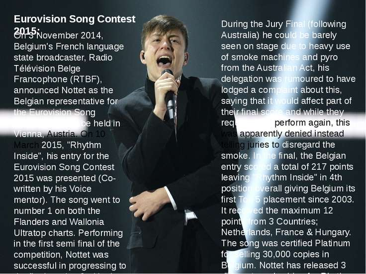 Eurovision Song Contest 2015: On 3 November 2014, Belgium's French language s...